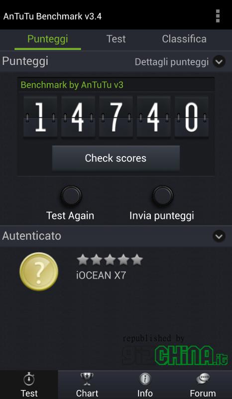 iOcean X7 Elite Antutu Benchmark