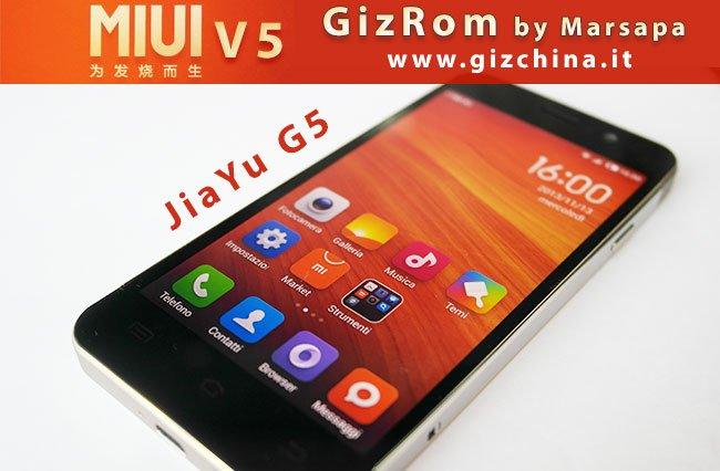 GizRom de Marsapa MIUI V5 3.11.8 para JiaYu G5