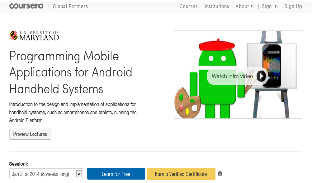 University of Maryland - Online programming Android course