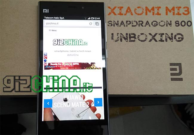 Esclusiva: Xiaomi Mi3 Snapdragon 800 unboxing by GizChina.it!