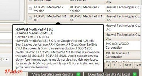 O Huawei Mediapad M1 fará sua aparição no próximo MWC?