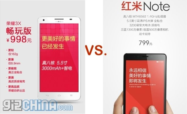 Huawei Honor 3X vs. Xiaomi Redmi Note