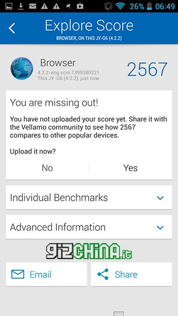 Benchmark Vellamo su JiaYu G6