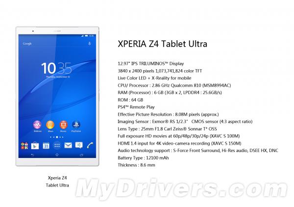 Sony Xperia Z4 Tablet Ultra: presunte specifiche?