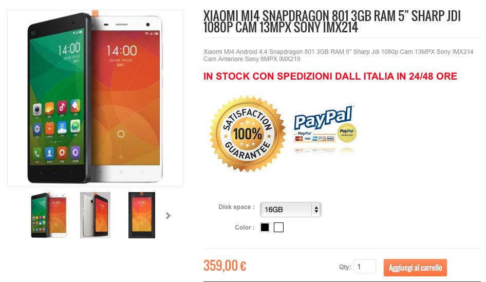Xiaomi Mi4 16GB Bianco su Xiaomishop.it