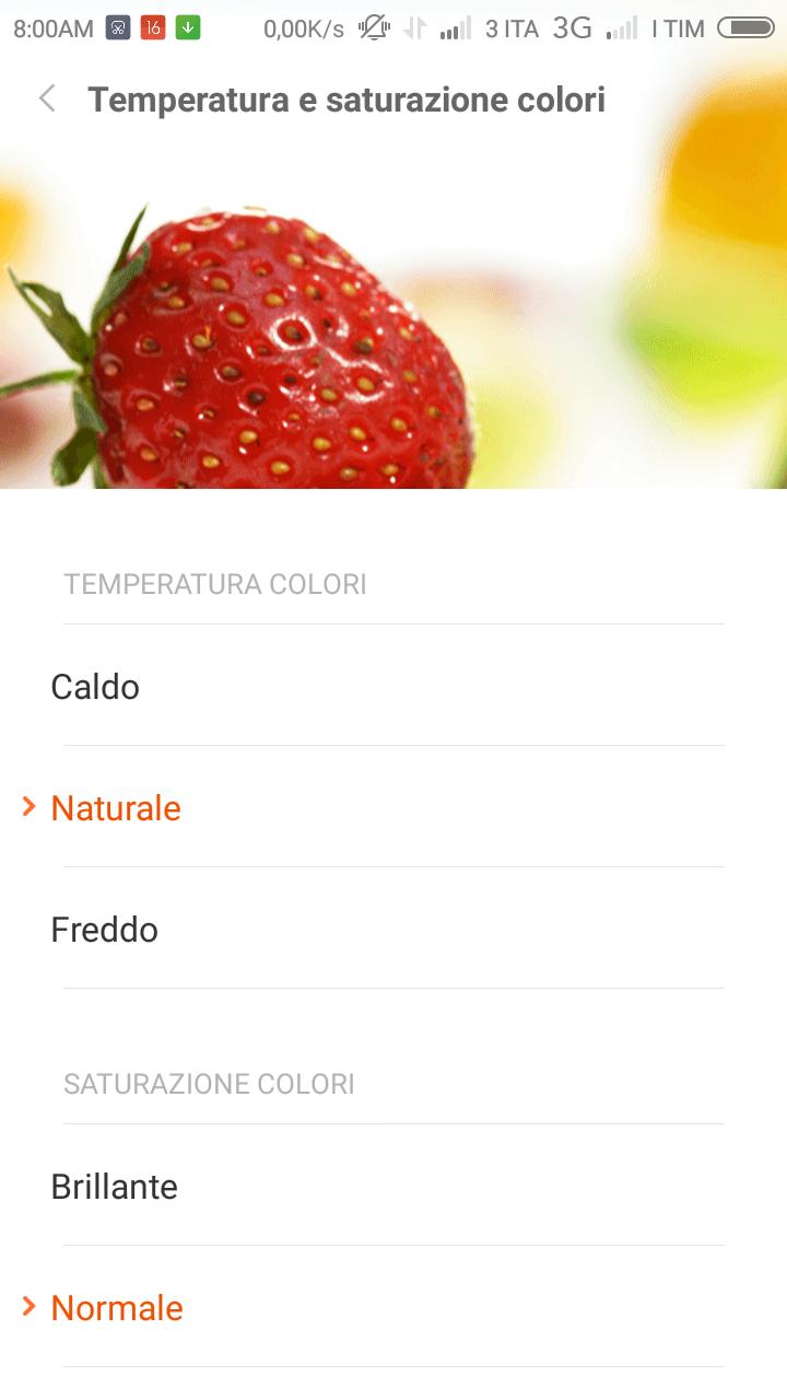 Xiaomi Redmi 2 MIUI 6 selettore temperatura colore