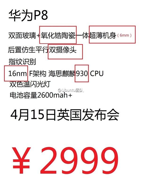 Huawei P8 nuove conferme delle specifiche?