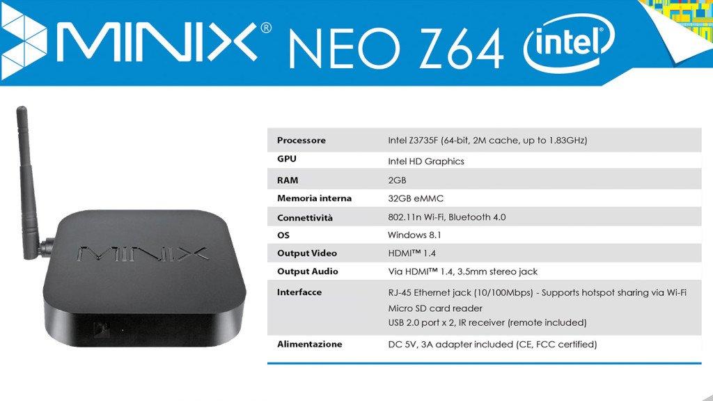 Minix Neo Z64 specifiche complete