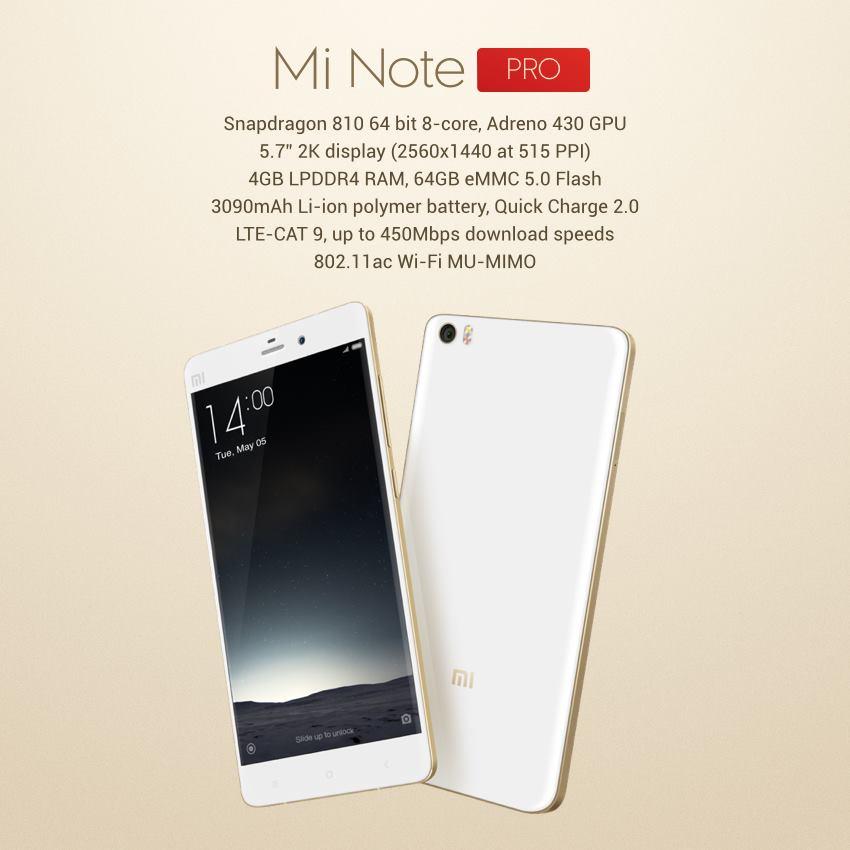 Xiaomi Mi Note Pro Lanciato Ufficialmente Con 4 Gb Di Ram