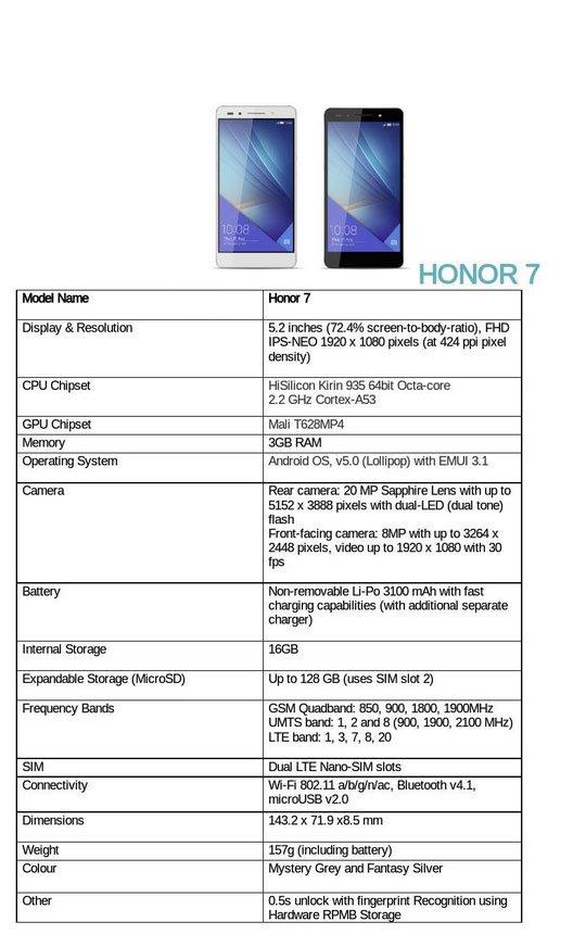 Specifiche Honor 7 Europeo
