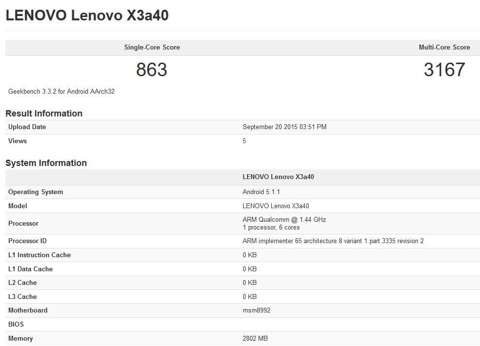Lenovo Vibe X3 GeekBench