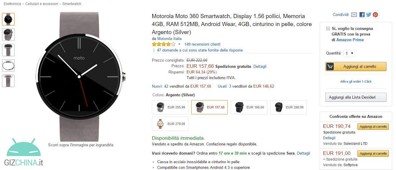 service durable obtenir de nouveaux découvrir les dernières tendances Moto 360 drops in price on Amazon.it: available at 157,60 ...