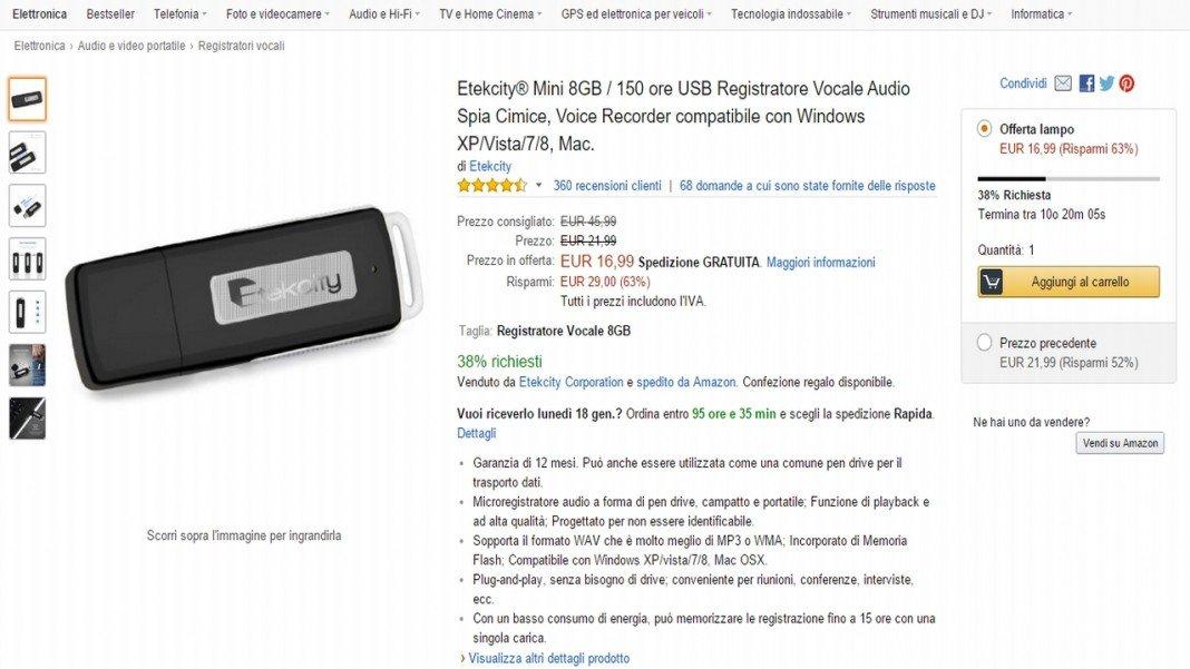 Etekcity USB voice recorder