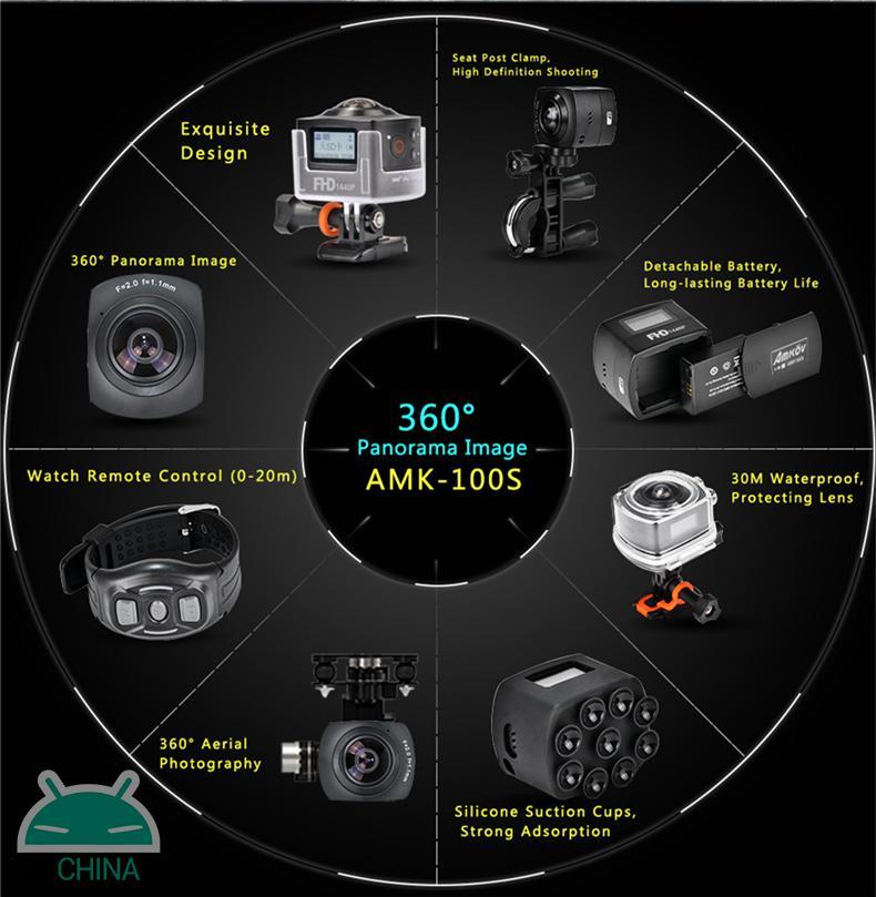 AMK100S 360° Panorama Sports Camera