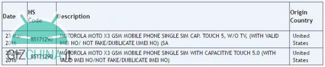 Zauba Motorola Moto X3