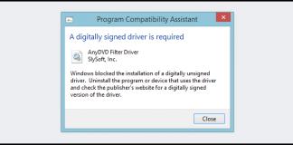 Windows firma driver