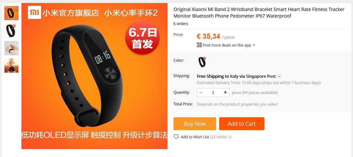 Xiaomi Mi Band 2 AliExpress