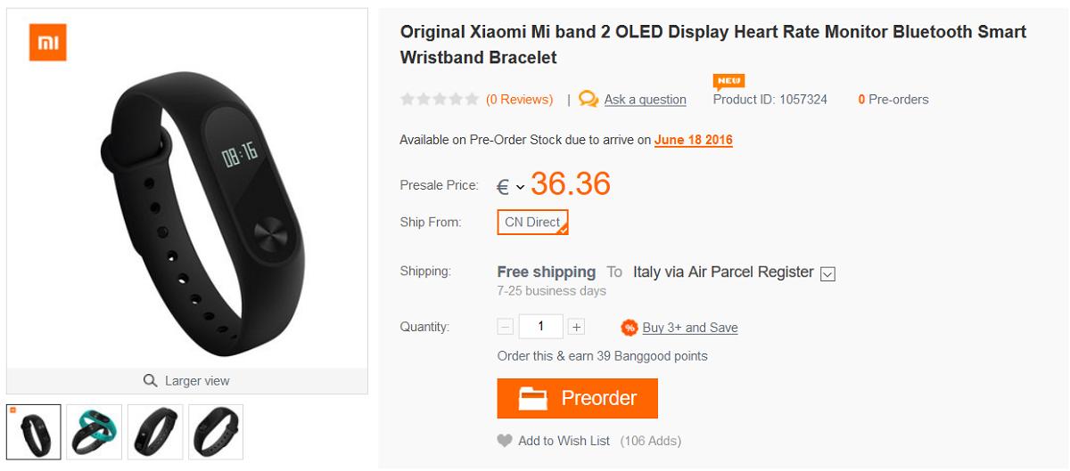 Xiaomi Mi Band 2 Banggood