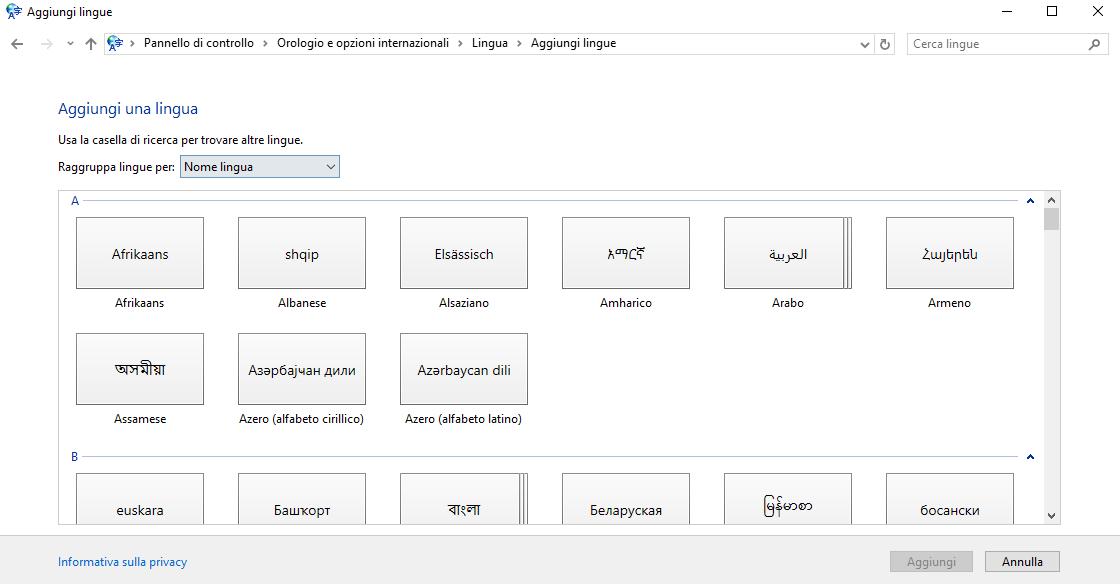 Lenguaje Microsoft Windows 10