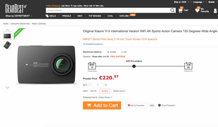 Xiaomi Yi Camera 2 oferece o código de desconto Gearbest