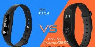 B6 vs Xiaomi Mi banda 2 Gearbest