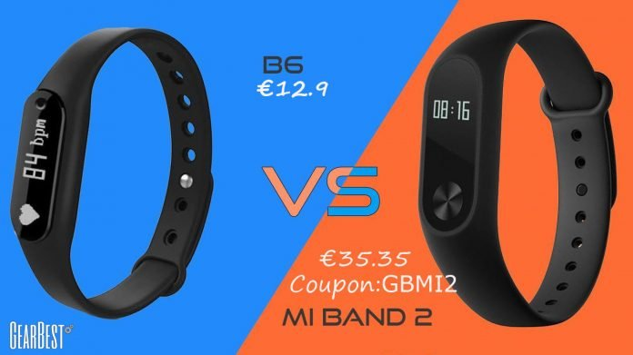 B6 vs Xiaomi Mi Band 2 Gearbest