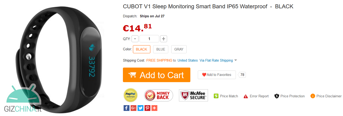 Cubot Band V1 GearBest
