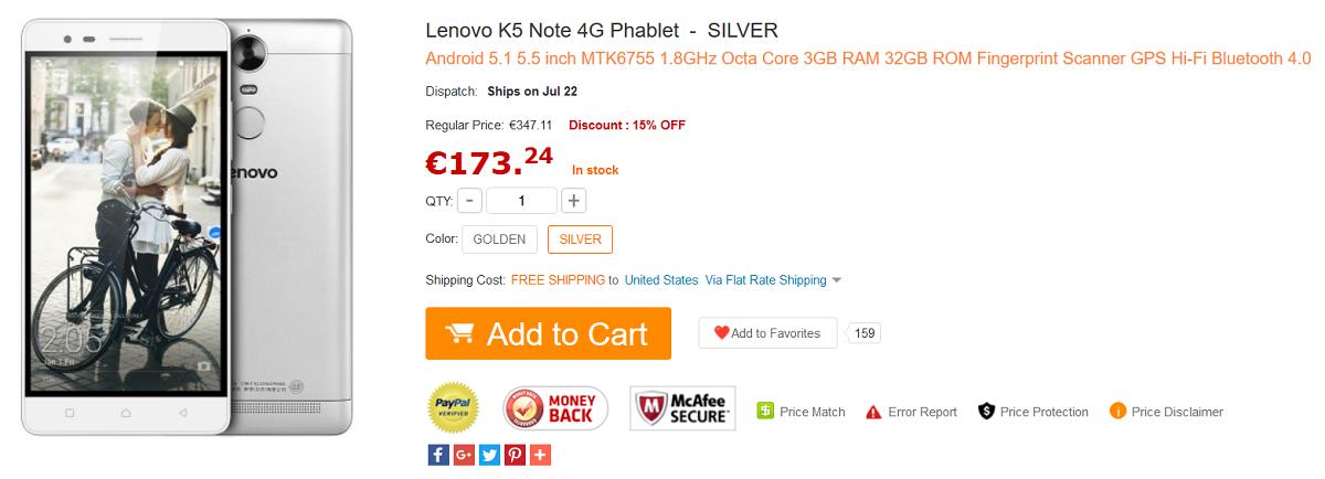 Lenovo K5 Note GearBest
