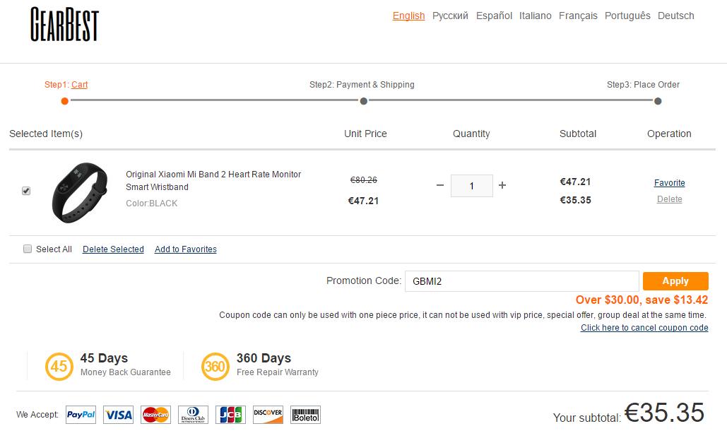 Xiaomi Mi Band 2 offerta Gearbest