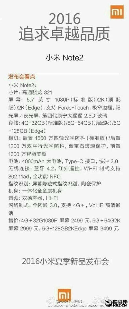 Especificações do Xiaomi Mi Note 2