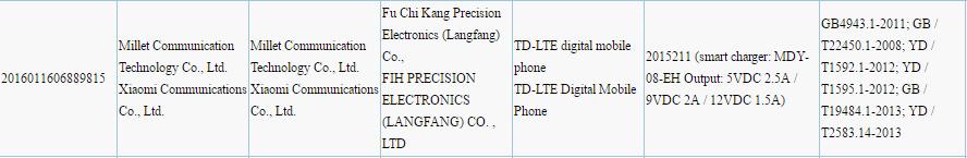 Certificación Xiaomi Mi Note 2 3C