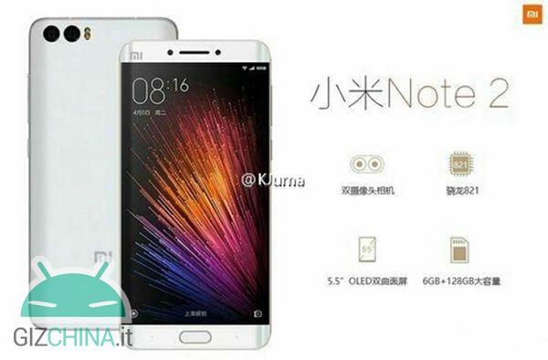 Xiaomi Mi Note 2 renderowanie z podwójnym wygięciem