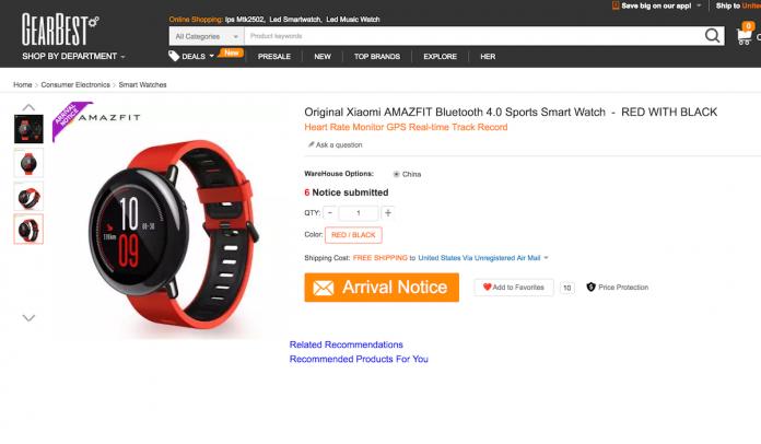 Relógio Xiaomi Mi GearBest