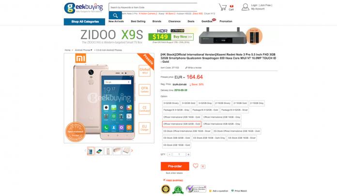 Xiaomi Redmi Note 3 Pro banda 20
