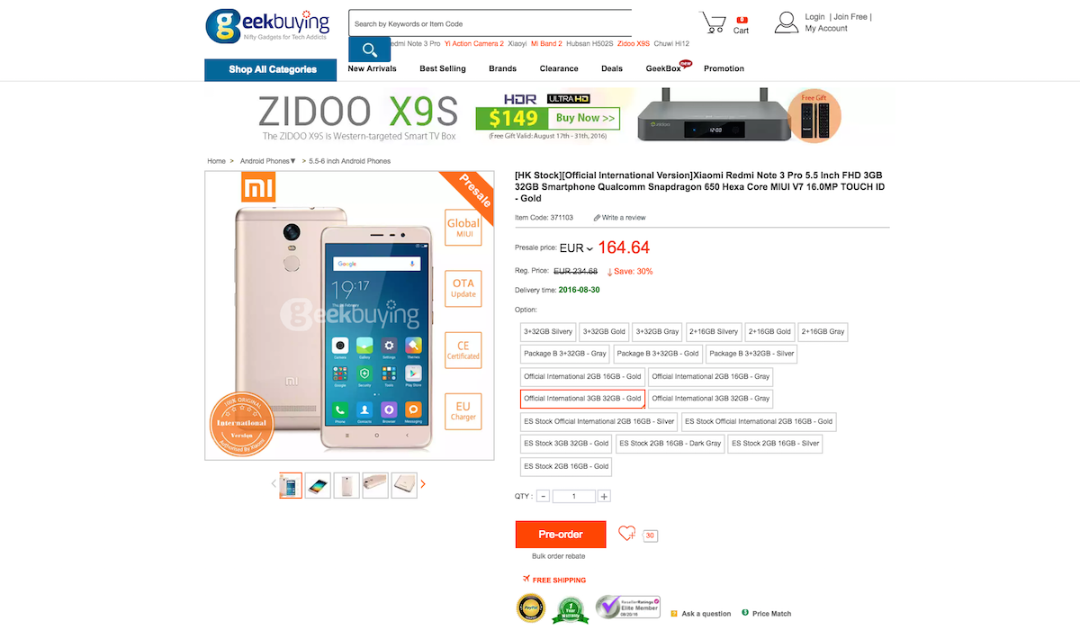 Xiaomi Redmi Note 3 Pro With 20 Band In Pre Order On Geekbuying 32 Gb Gold