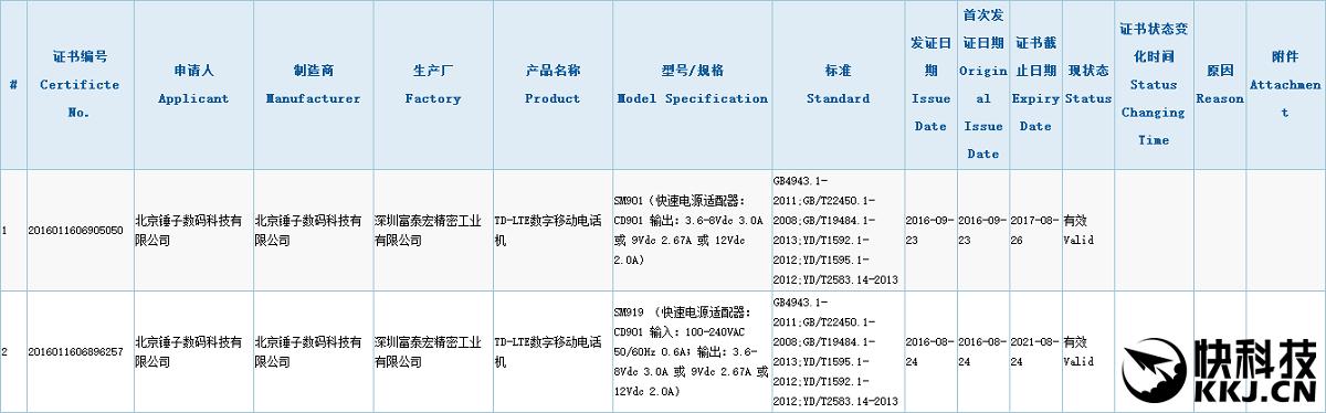 certificação smartisan t3 3c