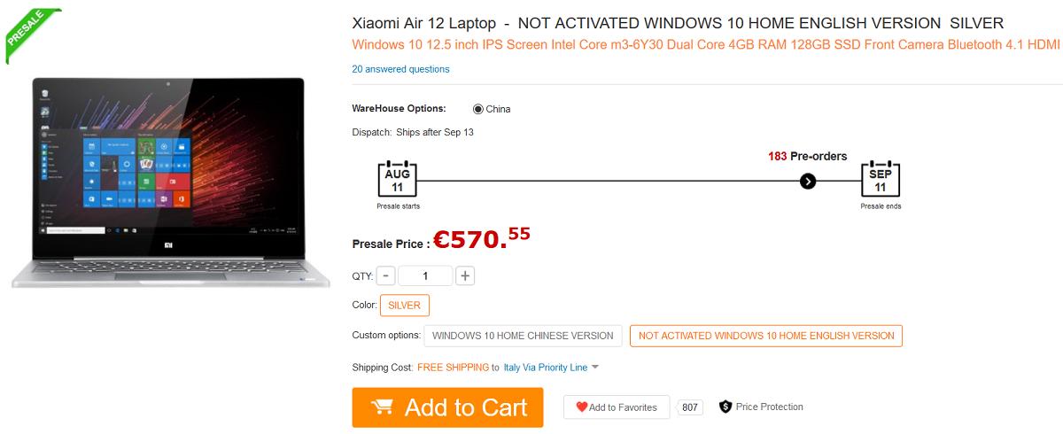 Xiaomi-Mi Notebook Air 12.5 GearBest