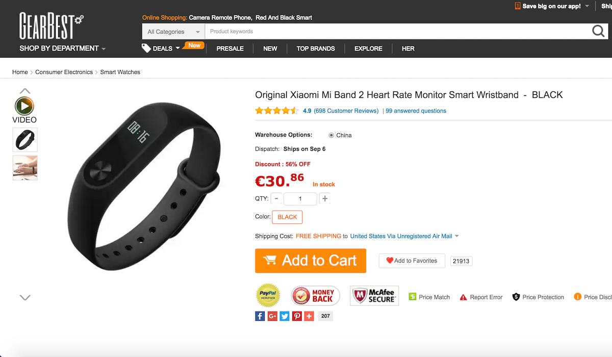 Xiaomi Mi Band 2 GearBest