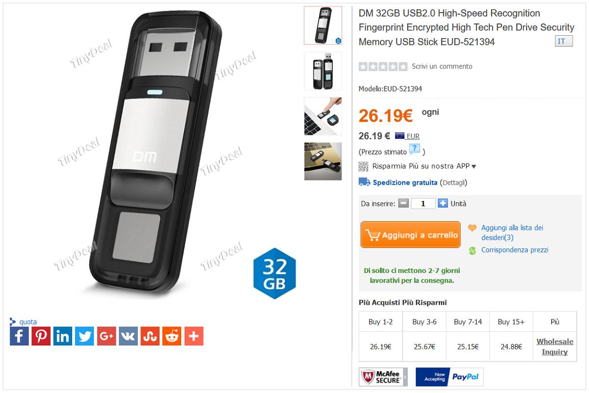 dm chiavetta usb 2.0 32 gb con lettore biometrico