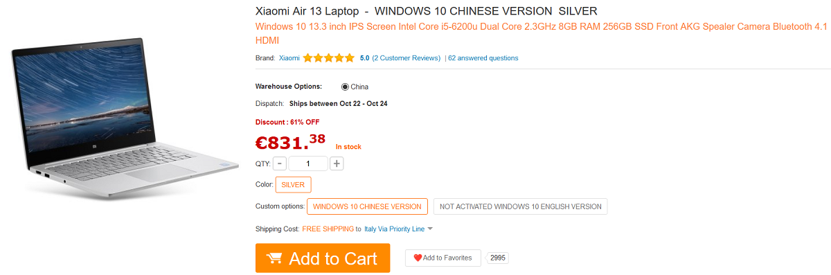 xiaomi mi notebook air 13 798 euro gearbest