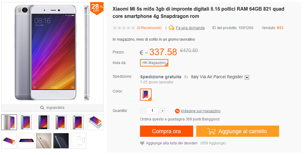 xiaomi mi 5s 3 / 64 gb 270 euro