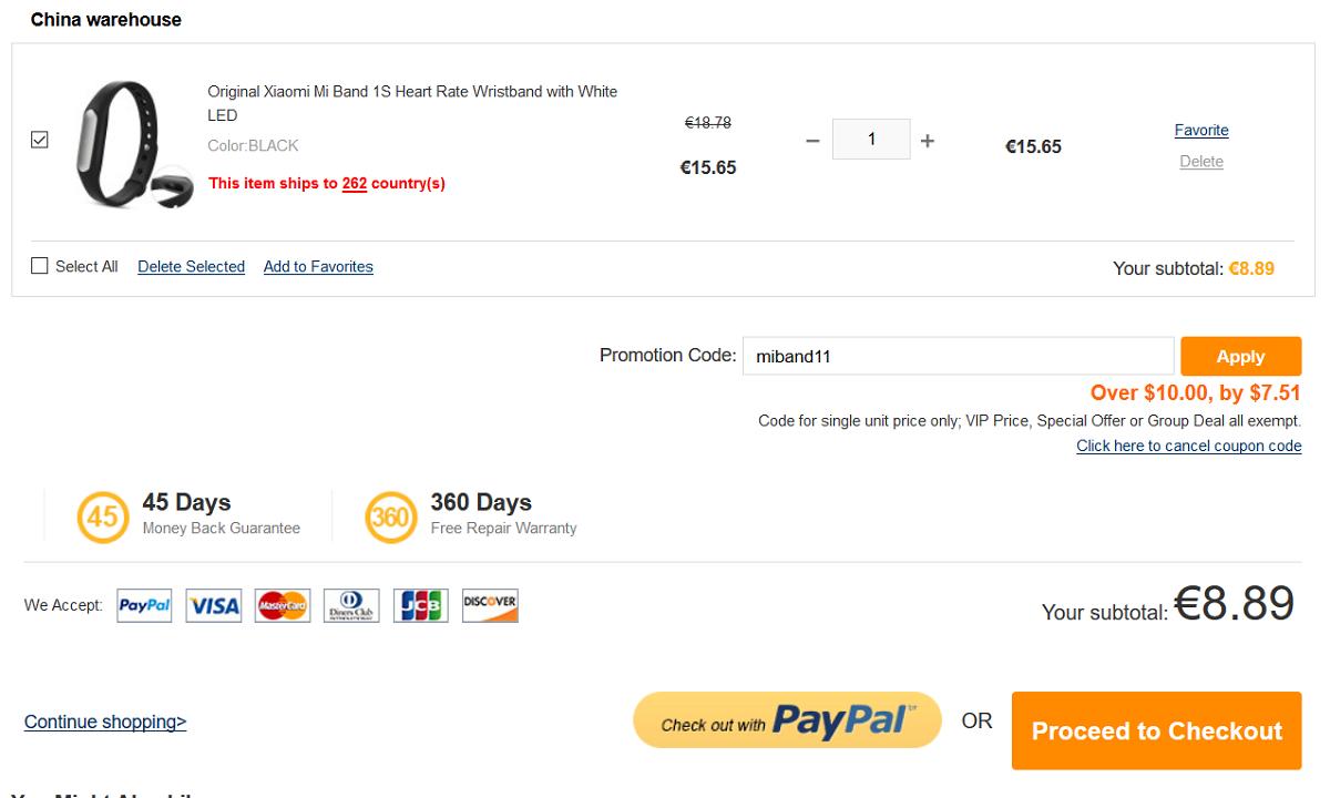 xiaomi mi band 1s pulse 8,89 euro