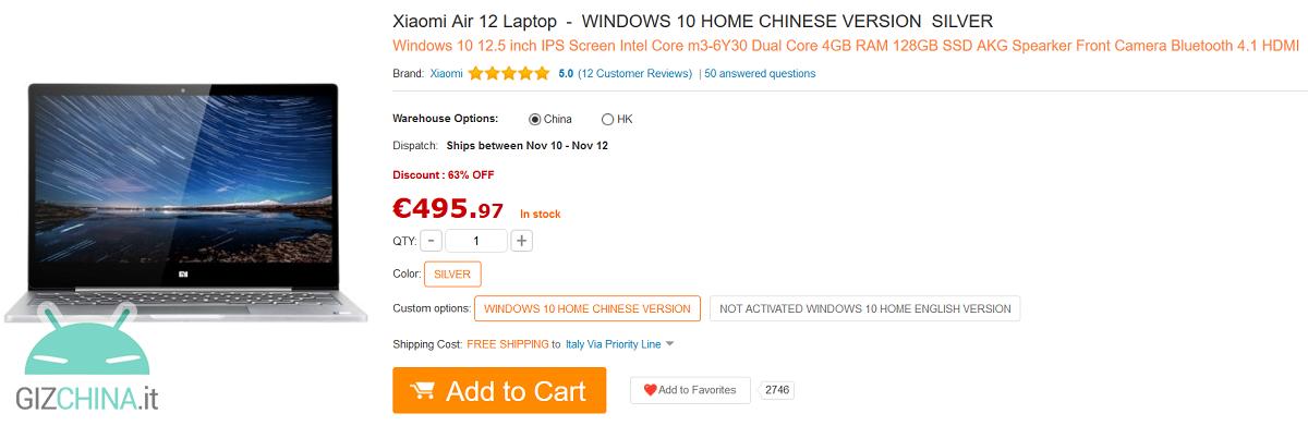 xiaomi mi notebook air 12 458 euro