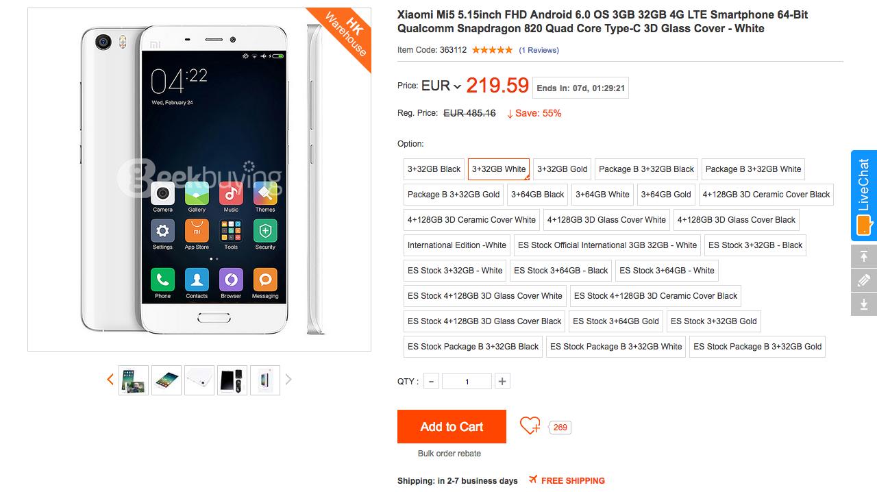 GeekBuying Xiaomi Mi 5 offerta