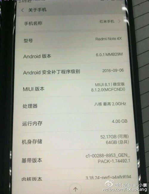 Xiaomi Redmi Notizen 4x über Telefon