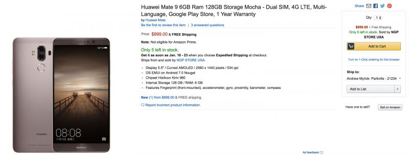 Huawei Mate 9 6/128 GB