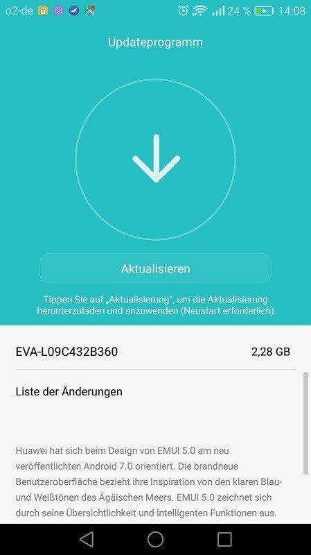 huawei p9 atualização android 7.0 nougat