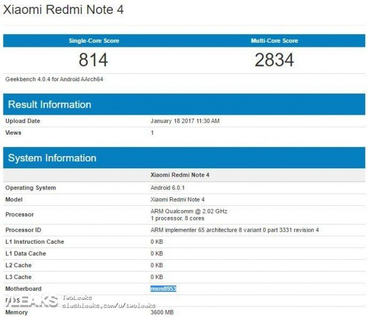xiaomi redmi notas 4 pro snapdragon 625 geekbench