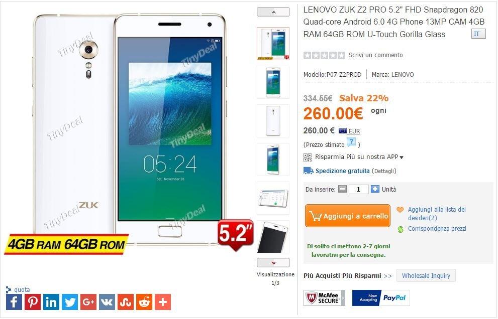 ZUK Z2 Pro 4 / 64 GB flashes on TinyDeal to 260 euro