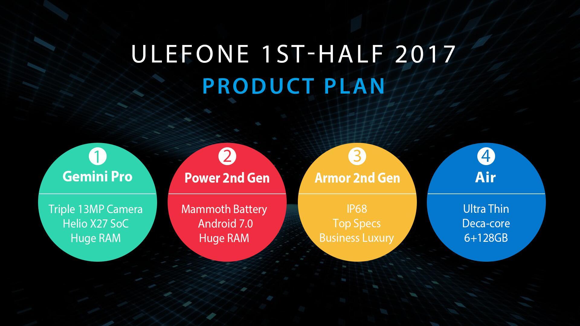 Ulefone 2017 Ulefone Gemini Pro Ulefone Power 2 Ulefone Armor 2 Ulefone Air